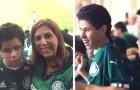 Esta mãe leva seu filho que tem deficiência visual para o estádio e narra todos os jogos para ele
