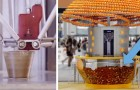 Cette machine produit des verres en bioplastique avec des écorces d'orange et les utilise pour servir du jus pressé