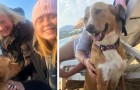 A girl returns from vacation and takes home the stray dog ​​that had remained at her side all the time