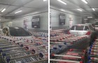 A man parks his car in a reserved area of ​​the supermarket and the employees block it with a barrier of shopping carts