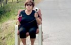 This elderly lady uses a hairdryer as a speed camera to slow down motorists who are driving too fast