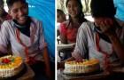 En mycket fattig pojke blir rörd till tårar när hans fröken ger honom hans första födelsedagstårta