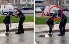 This police officer sees a homeless man in the street and helps him shave