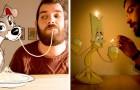 Questo ragazzo realizza ritratti esilaranti assieme ai personaggi più amati dei cartoni animati