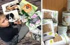 Este menino pinta retratos em troca de comida para os animais em dificuldade