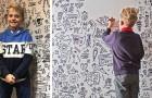 Er ist 9 Jahre alt und kann nicht aufhören zu zeichnen, also lädt ihn ein Restaurant ein, eine Wand des Restaurants zu dekorieren
