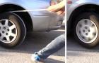 Dieser Typ zeigt einen praktischen Trick, um ein Auto mit schwacher Batterie durch ein Seil zu starten