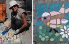 Un'artista ripara le buche a Messina costruendoci sopra dei coloratissimi mosaici