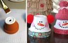 Come trasformare i vasi di terracotta in deliziosi pupazzi di neve, perfetti per le festività natalizie