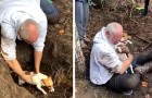 This man weeps with joy when he finds and rescues his little dog that was trapped in a fox hole