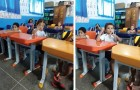 In class, there is a deaf child and his classmate translates Little Red Riding Hood for him in sign language
