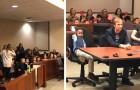 Todos os colegas deste menino foram no tribunal com ele para apoiá-lo durante a sua audiência para a adoção