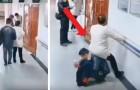 Ninguno se levanta para ceder el lugar a la mujer embarazada: el marido la hace sentar sobre su espalda