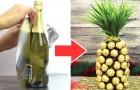 Un ananas fatto di cioccolato avvolto in una bottiglia di spumante: l'idea per un regalo creativo e gustoso