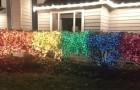 Een vrouw creëerde de LGBTQ-vlag met 10.000 kerstlampjes om haar homofobe buurman een bericht te sturen