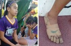 She does not have the money to buy real sneakers, so she creates her own