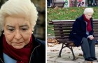 Questa scultura iperrealista rappresenta in modo perfetto la solitudine in cui vivono molti anziani