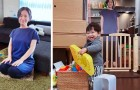 To stop her son from crying, she positions a life-size cardboard figure of herself in the room every time she leaves him alone