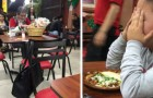 A young boy paid for a meal for a tired elderly street vendor at the end of his workday