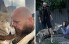 This man saved a male wolf pup and raised it as a pet