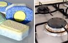 Un trucco semplice ed efficace per pulire i fornelli con le pastiglie della lavastoviglie e acqua calda
