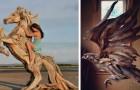 Questo ragazzo trasforma il legno trascinato a riva dal mare in splendide sculture di animali selvatici
