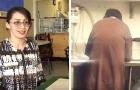 De eigenaresse van deze cafetaria gaf een dakloze, die het restaurant binnenkwam om te bedelen, een baan