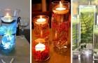 16 soluzioni ingegnose per decorare con le candele galleggianti e creare composizioni con fiori e acqua