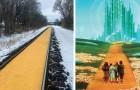 Un treno merci perde il carico di mais lungo la ferrovia: lo scena ricorda Il Mago di Oz