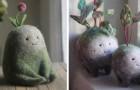 Dit meisje slaagt erin tedere personages met magische kenmerken te creëren door gekaarde wol te bewerken