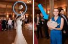 Invece del solito bouquet, questa sposa lancia un gatto di peluche per vedere chi sarà il prossimo ad adottare un micio