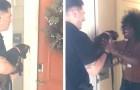 Esta mulher não consegue conter a alegria quando a polícia traz de volta para a casa a sua cachorrinha que tinha sido roubada