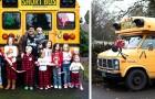 Ce grand-père a créé un mini-bus scolaire qui emmène ses 10 petits-enfants à l'école tous les matins