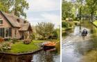 In diesem niederländischen Dorf sind die Straßen Wasserwege, die von Brücken und stillen Booten überquert werden
