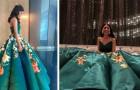 Crea su vestido personalizado para el baile de fin de año, pintando a mano 80 maravillosas flores