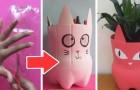 Il metodo semplice e divertente per trasformare le bottiglie di plastica in adorabili portavasi
