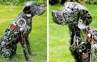 Questo artista realizza sculture di animali a grandezza naturale con viti, bulloni e scarti metallici