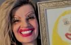 Deze moeder heeft een selfie geplaatst waarin ze naast het portret poseert dat 10 jaar eerder door haar dochter werd gemaakt