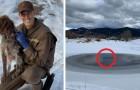 Ein tapferer Kurier zog seine Uniform aus und sprang in den Teich, um einen Hund in Not zu retten