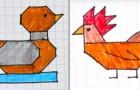 7 facilissimi disegni stilizzati su fogli a quadretti ideali per far divertire i bambini