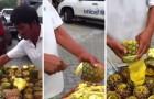 Ecco il modo più veloce ed IGIENICO per sbucciare un ananas... Che talento!