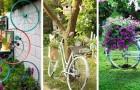 12 trovate adorabili per decorare il giardino con una vecchia bicicletta