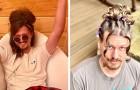 Une jeune coiffeuse en quarantaine coiffe les cheveux de son petit ami de la façon la plus drôle et la plus extravagante