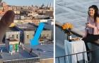 Ein Mann in Quarantäne sieht ein junges Mädchen auf dem Dach tanzen und schickt ihr seine Nummer mit einer Drohne...