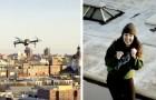 Ve una joven sobre el techo de enfrente y le envía su número con un drone: nace un coqueteo a distancia