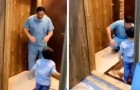 A doctor refuses his son's embrace for fear of the Coronavirus, then bursts into tears: the double drama of the doctors