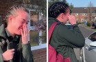 Una enfermera explota en lágrimas cuando todos los vecinos salen de sus casas para aplaudirla y agradecerle por su trabajo
