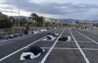 Malgré les hôtels vides, les sans-abri de Las Vegas dorment dans un parking avec des espaces délimités