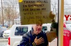 They saved his wife's life from the coronavirus: unable to thank them in person, he held up a sign in the emergency room window to show his gratitude