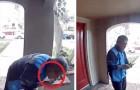 Coronaviruset - en budbärare får sparken efter det att en övervakningskamera tar honom på bar gärning medan han slickar på ett paket